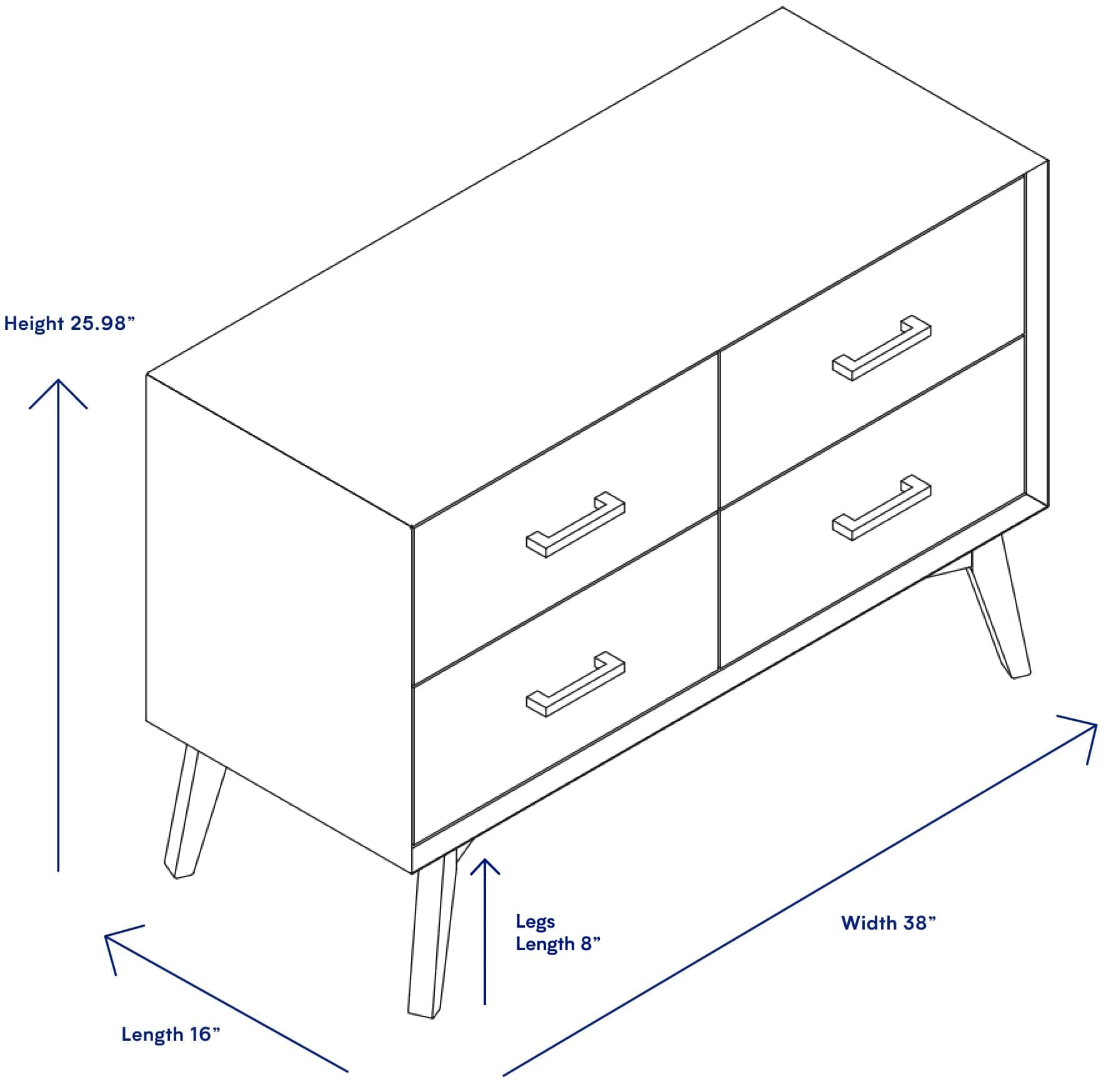4 Drawer Dresser Available In White